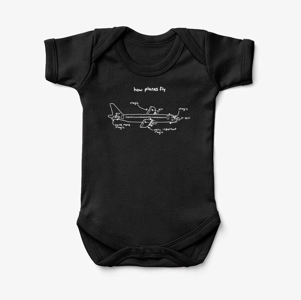 How Planes Fly Designed Baby Bodysuits
