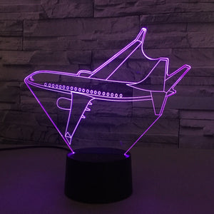 Turning Airplane Designed 3D Lamp Aviation Shop