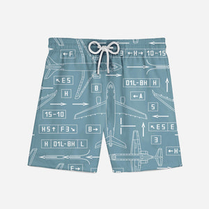 Jet Planes & Airport Signs Designed Swim Trunks
