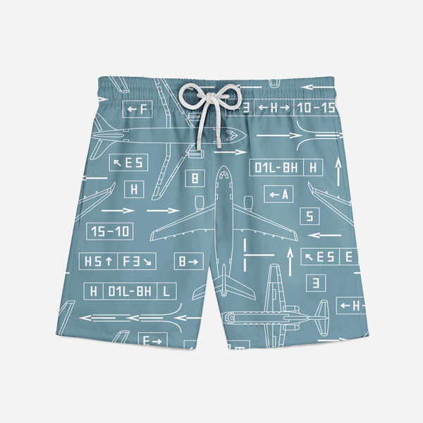 Jet Planes & Airport Signs Designed Swim Trunks & Shorts