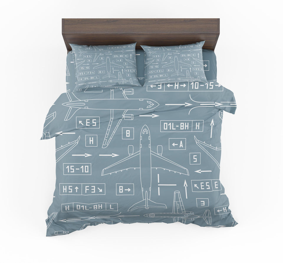 Jet Planes & Airport Signs Designed Bedding Sets