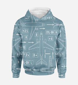 Jet Planes & Airport Signs Printed 3D Hoodies