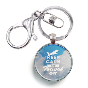 Keep Calm and Travel On Designed Circle Key Chains