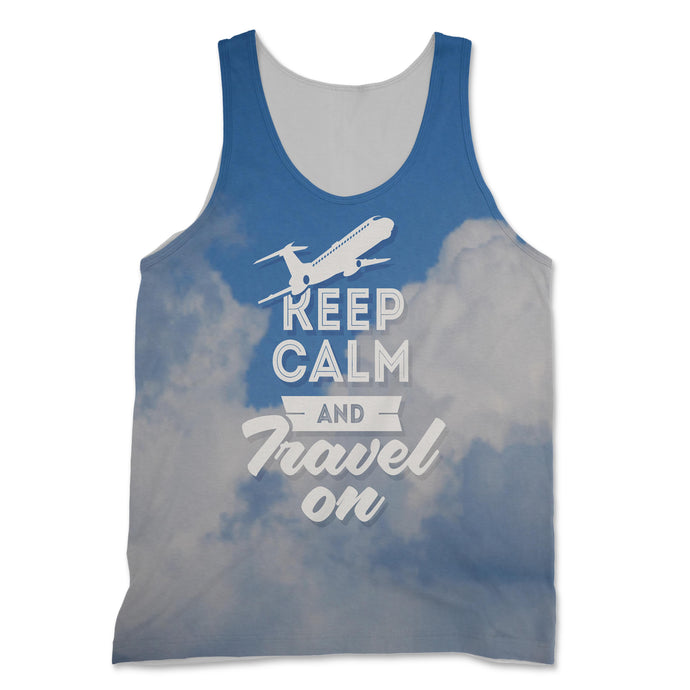 Keep Calm and Travel On Designed 3D Tank Tops