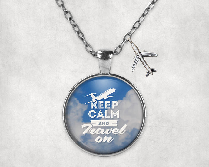 Keep Calm and Travel On Designed Necklaces
