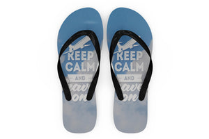 Keep Calm and Travel On Designed Slippers (Flip Flops)
