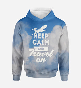Keep Calm and Travel On Printed 3D Hoodies