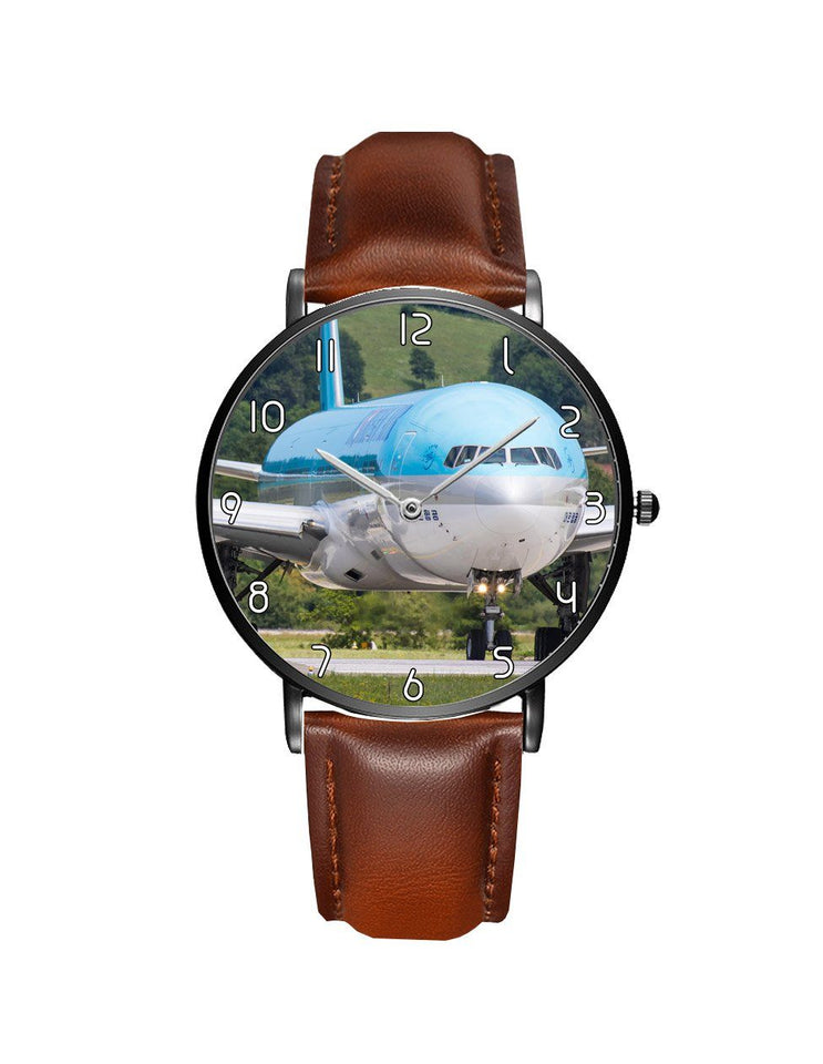 Face to Face with Korean Airways Boeing 777 Leather Strap Watches Aviation Shop Black & Brown Leather Strap