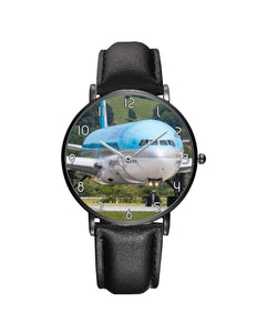 Face to Face with Korean Airways Boeing 777 Leather Strap Watches Aviation Shop Black & Black Leather Strap