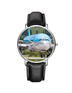 Face to Face with Korean Airways Boeing 777 Leather Strap Watches Aviation Shop Silver & Black Leather Strap