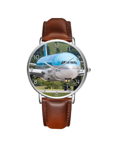 Face to Face with Korean Airways Boeing 777 Leather Strap Watches Aviation Shop Silver & Brown Leather Strap