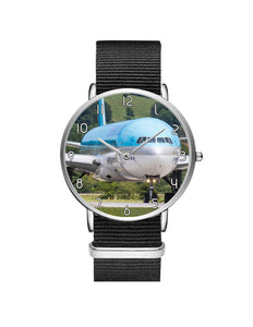 Face to Face with Korean Airways Boeing 777 Leather Strap Watches Aviation Shop Silver & Black Nylon Strap