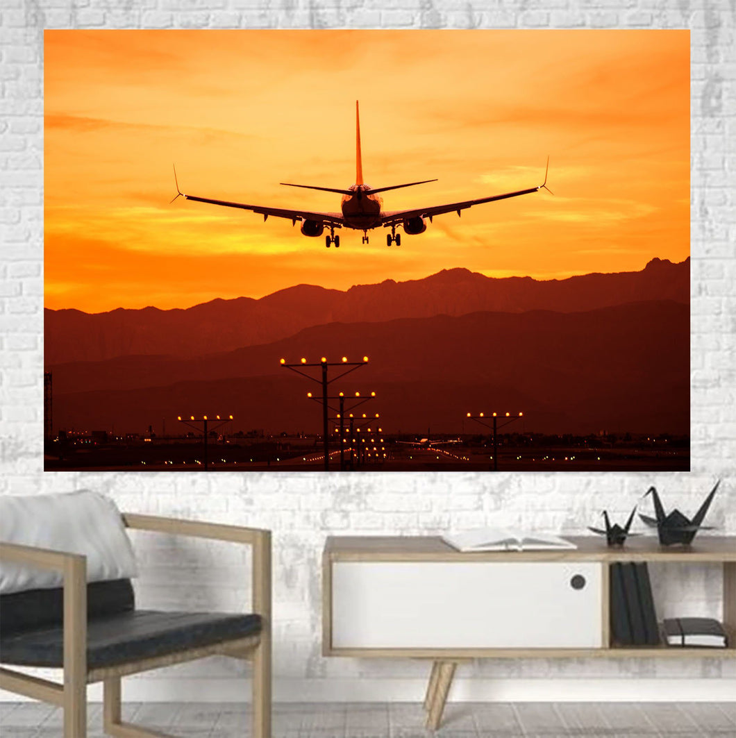 Landing Aircraft During Sunset Printed Canvas Posters (1 Piece) Aviation Shop