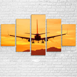 Landing Aircraft During Sunset Printed Multiple Canvas Poster