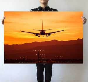 Landing Aircraft During Sunset Printed Posters Aviation Shop