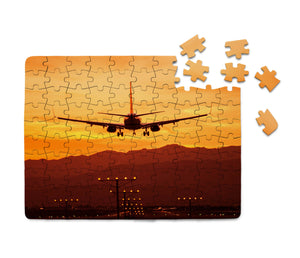 Landing Aircraft During Sunset Printed Puzzles Aviation Shop