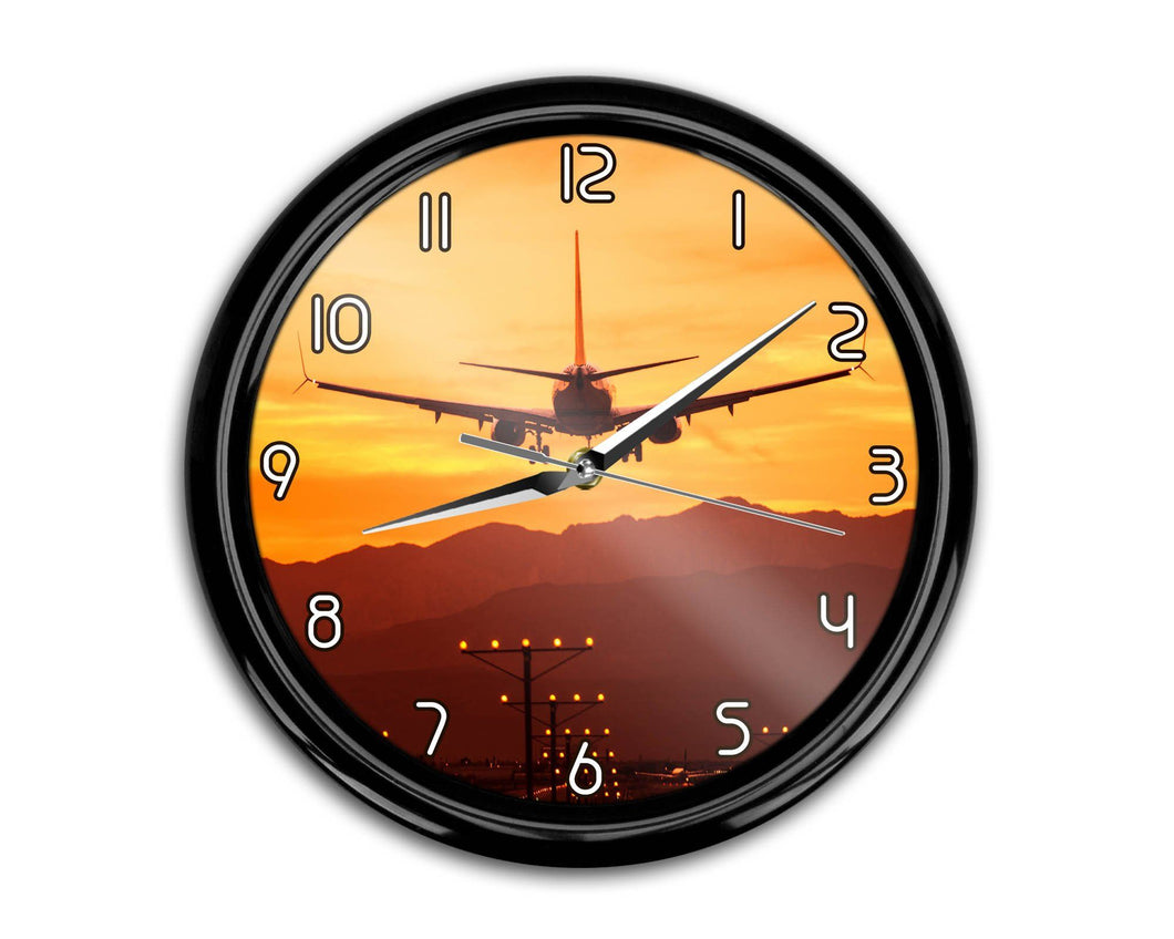 Landing Aircraft During Sunset Printed Wall Clocks Aviation Shop