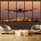 Landing Boeing 747 During Sunset Canvas Prints (5 Pieces)