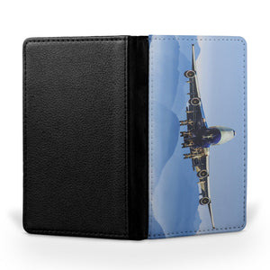 Landing Boeing 747 From Front Printed Passport & Travel Cases