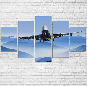 Landing Boeing 747 From Front Printed Multiple Canvas Poster Aviation Shop
