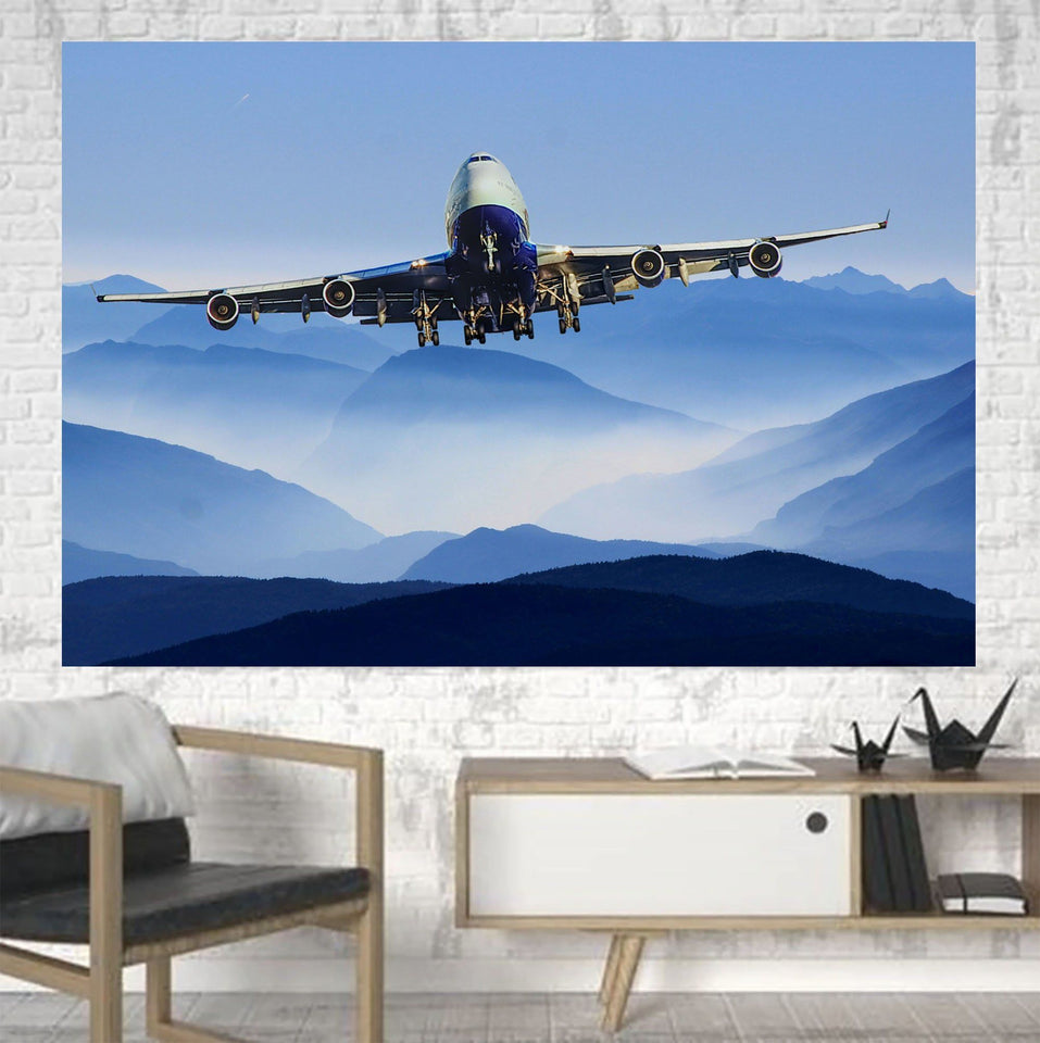 Landing Boeing 747 From Front Printed Canvas Posters (1 Piece) Aviation Shop