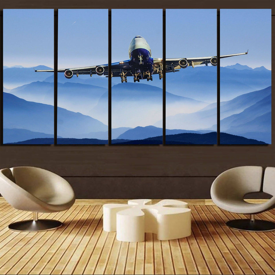 Landing Boeing 747 From Front Printed Canvas Prints (5 Pieces) Aviation Shop