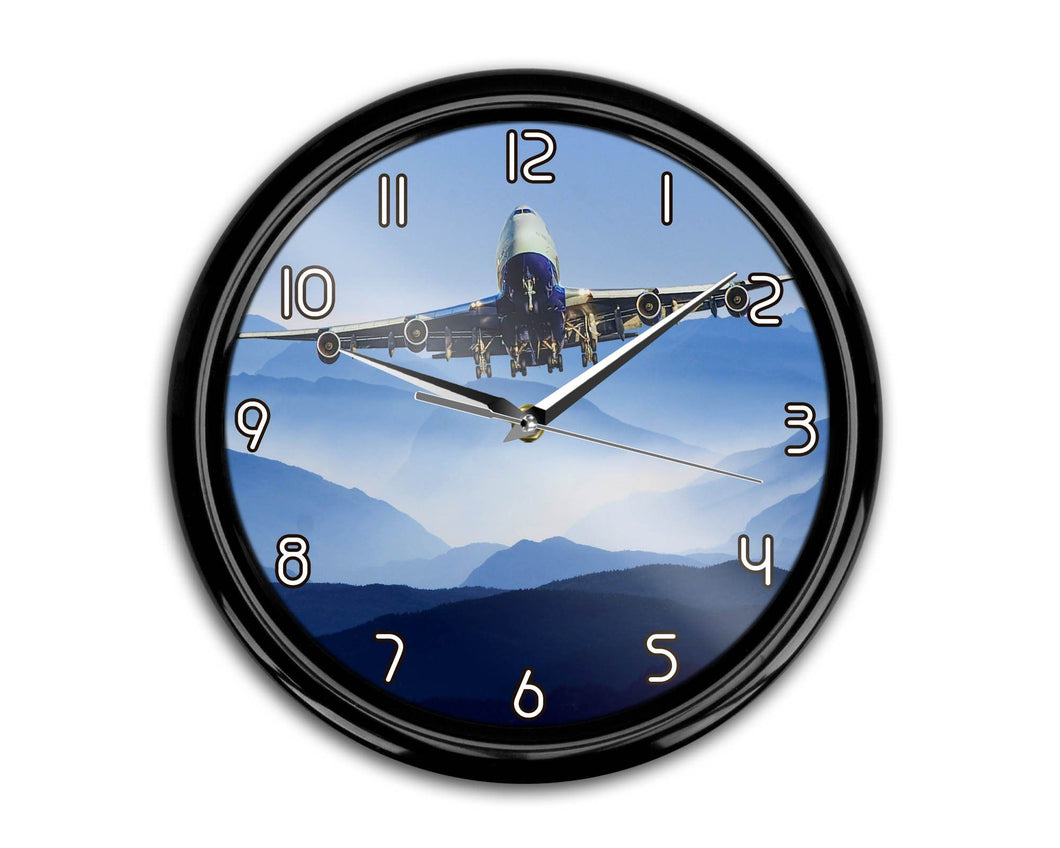 Landing Boeing 747 From Front Printed Wall Clocks Aviation Shop