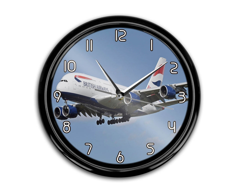 Landing British Airways A380 Printed Wall Clocks Aviation Shop