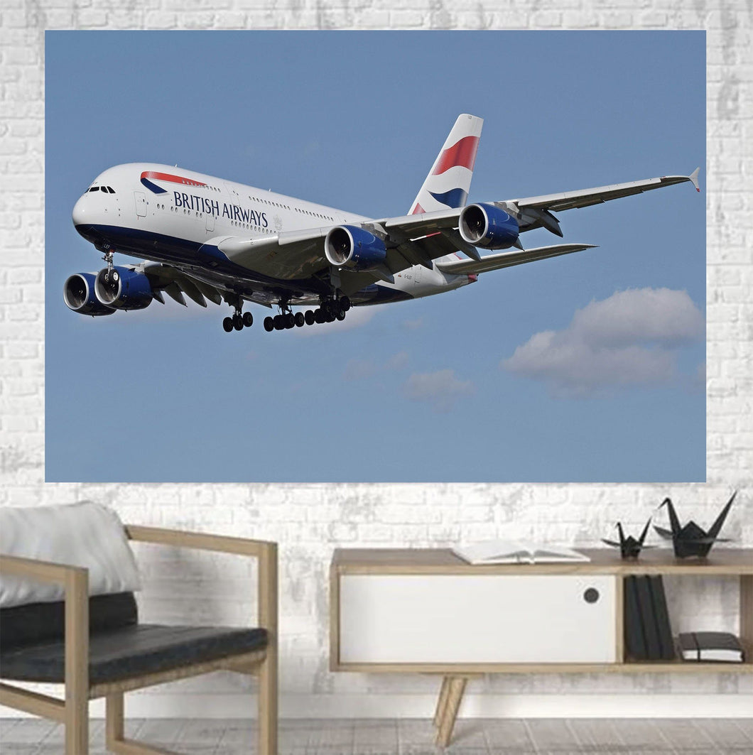 Landing British Airways A380 Printed Canvas Posters (1 Piece) Aviation Shop
