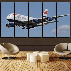 Landing British Airways A380 Printed Canvas Prints (5 Pieces) Aviation Shop