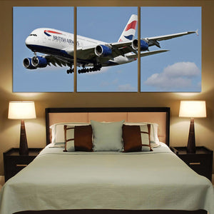 Landing British Airways A380 Printed Canvas Posters (3 Pieces) Aviation Shop