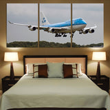 Landing KLM's Boeing 747 Printed Canvas Posters (3 Pieces) Aviation Shop