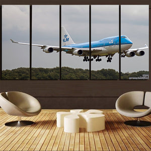 Landing KLM's Boeing 747 Printed Canvas Prints (5 Pieces) Aviation Shop