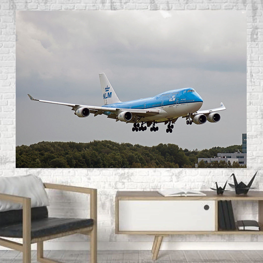 Landing KLM's Boeing 747 Printed Canvas Posters (1 Piece) Aviation Shop