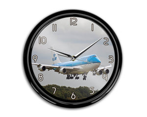 Landing KLM's Boeing 747 Printed Wall Clocks Aviation Shop
