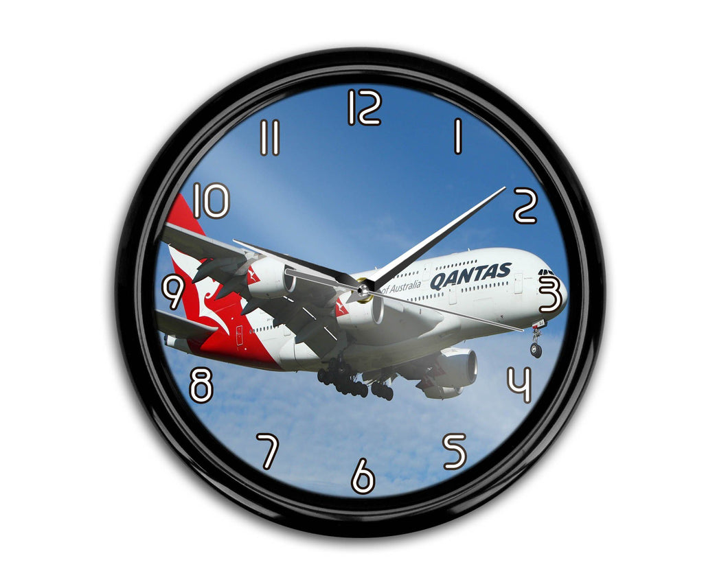 Landing Qantas A380 Printed Wall Clocks Aviation Shop