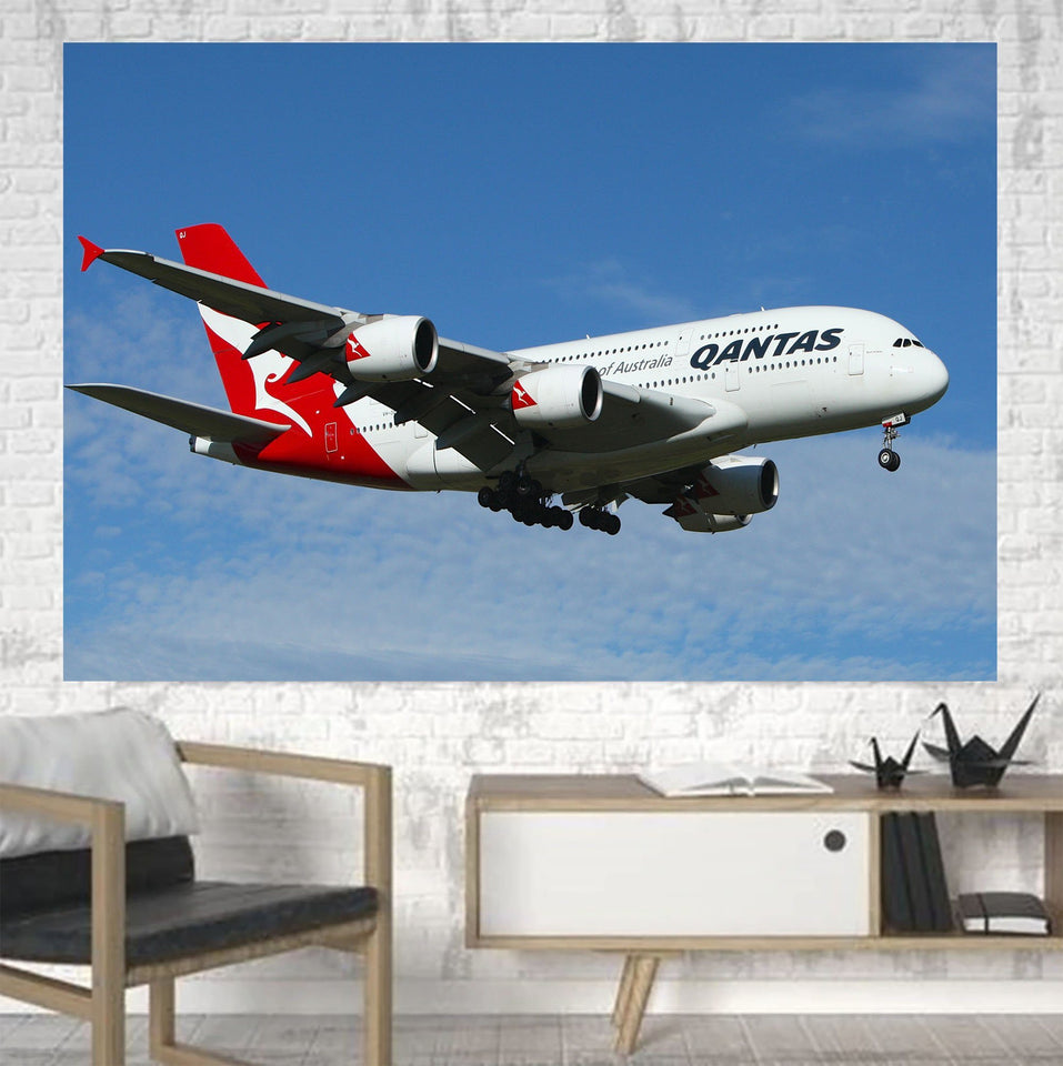 Landing Qantas A380 Printed Canvas Posters (1 Piece) Aviation Shop