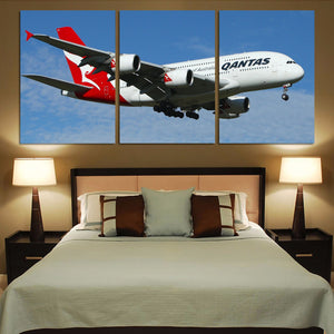Landing Qantas A380 Printed Canvas Posters (3 Pieces) Aviation Shop