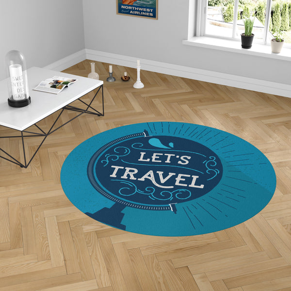 Let's Travel Designed Carpet & Floor Mats (Round)