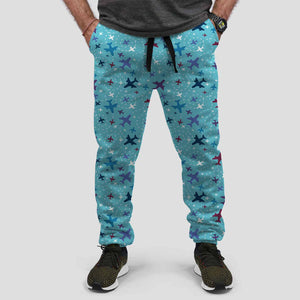 Love of Travel with Aircraft Designed Sweat Pants & Trousers