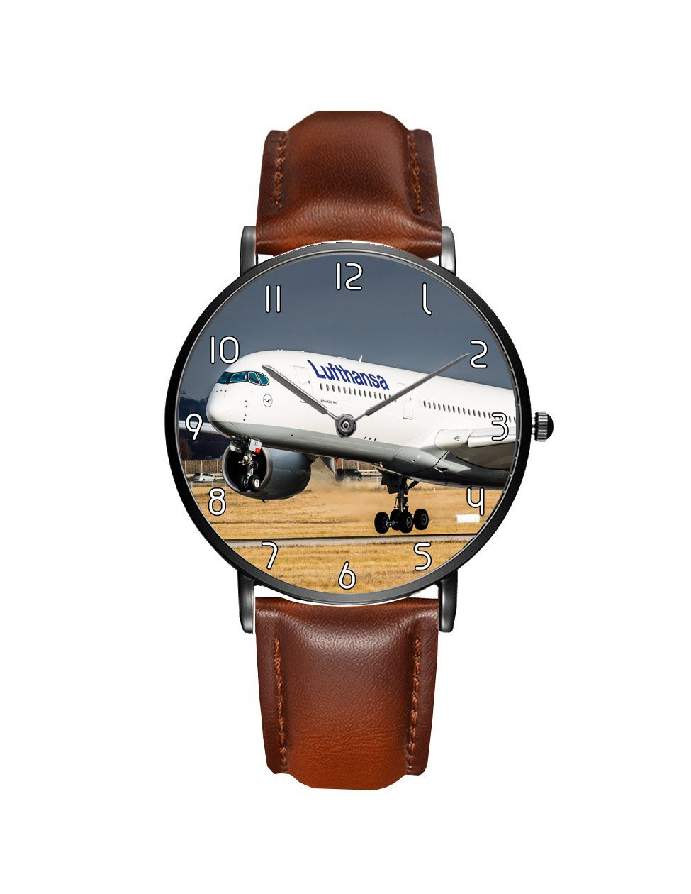 Lutfhansa A350 Printed Leather Strap Watches Aviation Shop Black & Brown Leather Strap