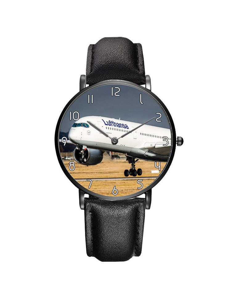 Lutfhansa A350 Printed Leather Strap Watches Aviation Shop Black & Black Leather Strap