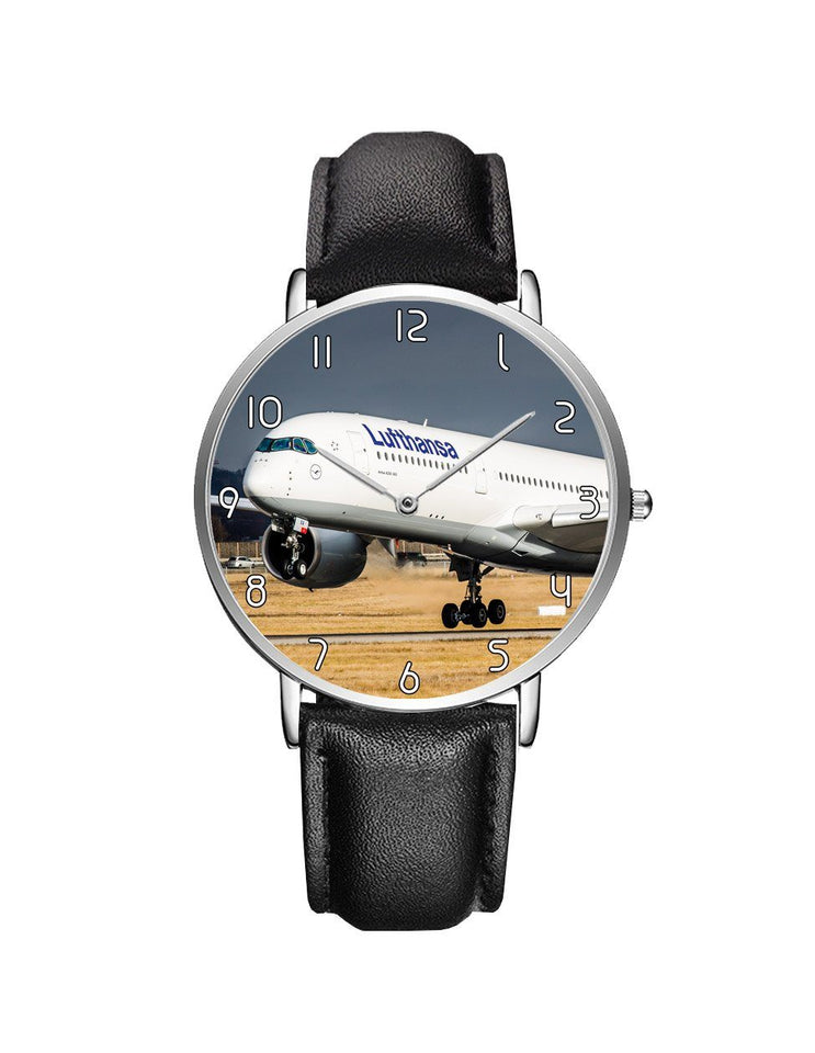 Lutfhansa A350 Printed Leather Strap Watches Aviation Shop Silver & Black Leather Strap