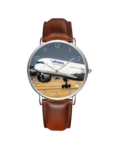 Lutfhansa A350 Printed Leather Strap Watches Aviation Shop Silver & Brown Leather Strap