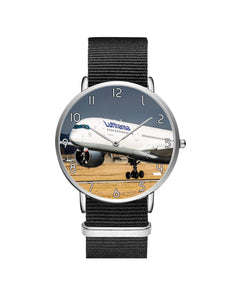 Lutfhansa A350 Printed Leather Strap Watches Aviation Shop Silver & Black Nylon Strap