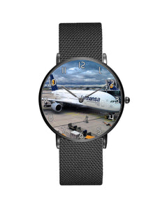 Lufthansa's A380 At The Gate Stainless Steel Strap Watches Aviation Shop Black & Stainless Steel Strap