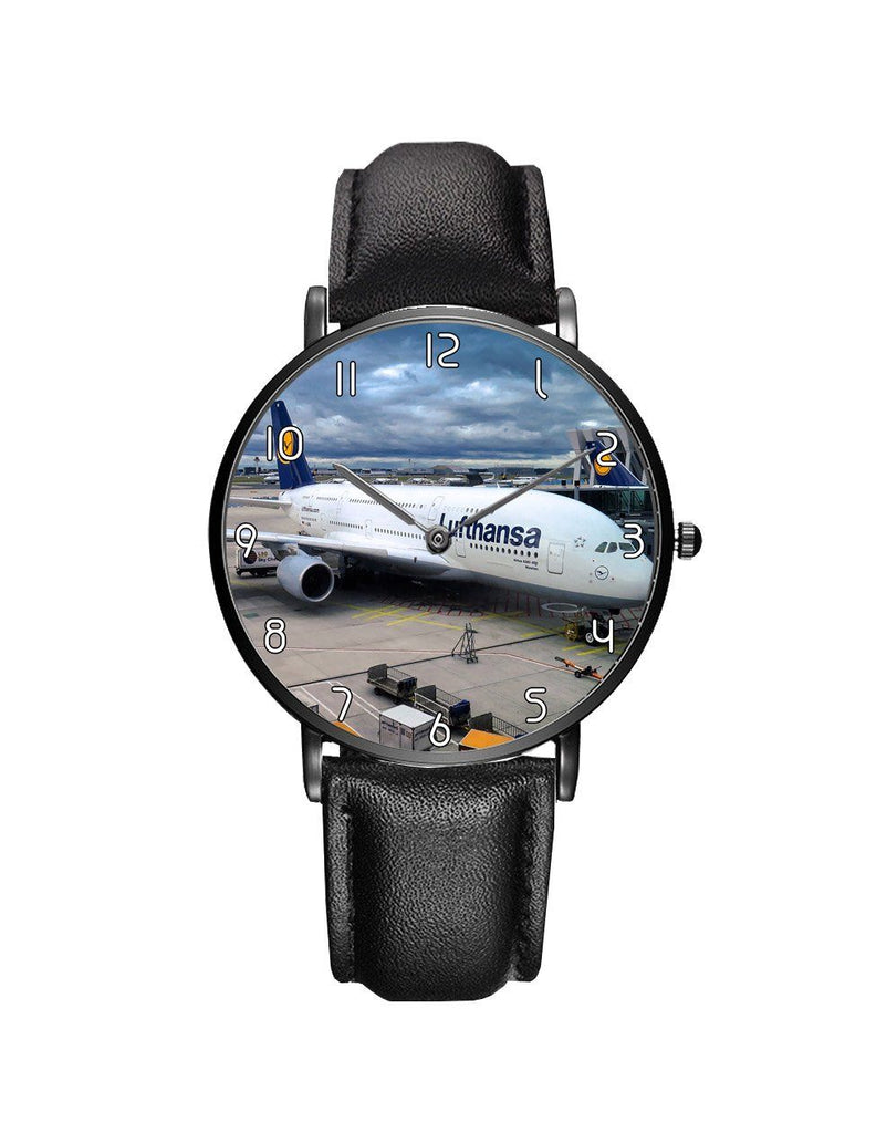Lufthansa's A380 At The Gate Leather Strap Watches
