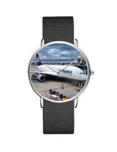 Lufthansa's A380 At The Gate Stainless Steel Strap Watches Aviation Shop Silver & Black Stainless Steel Strap