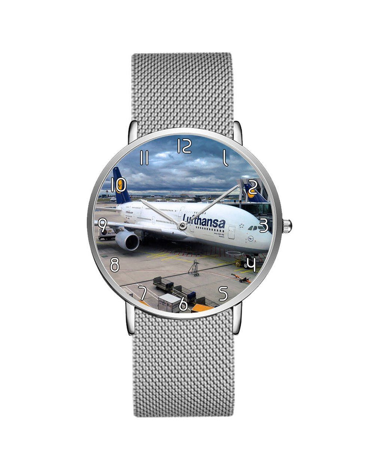 Lufthansa's A380 At The Gate Stainless Steel Strap Watches Aviation Shop Silver & Silver Stainless Steel Strap