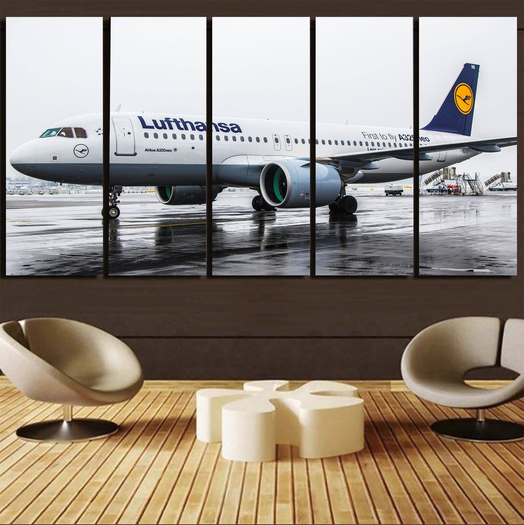 Lufthansa's A320 Neo Printed Canvas Prints (5 Pieces) Aviation Shop